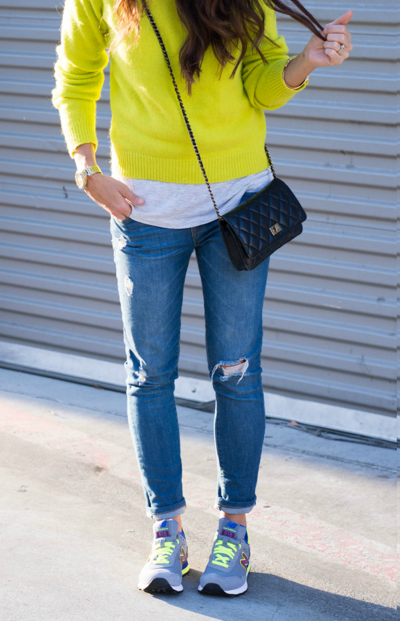 Sneakers & Neon Sweater