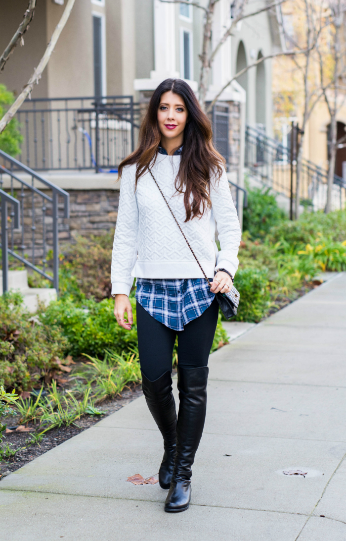 Cropped Sweater with Over the Knee Boots