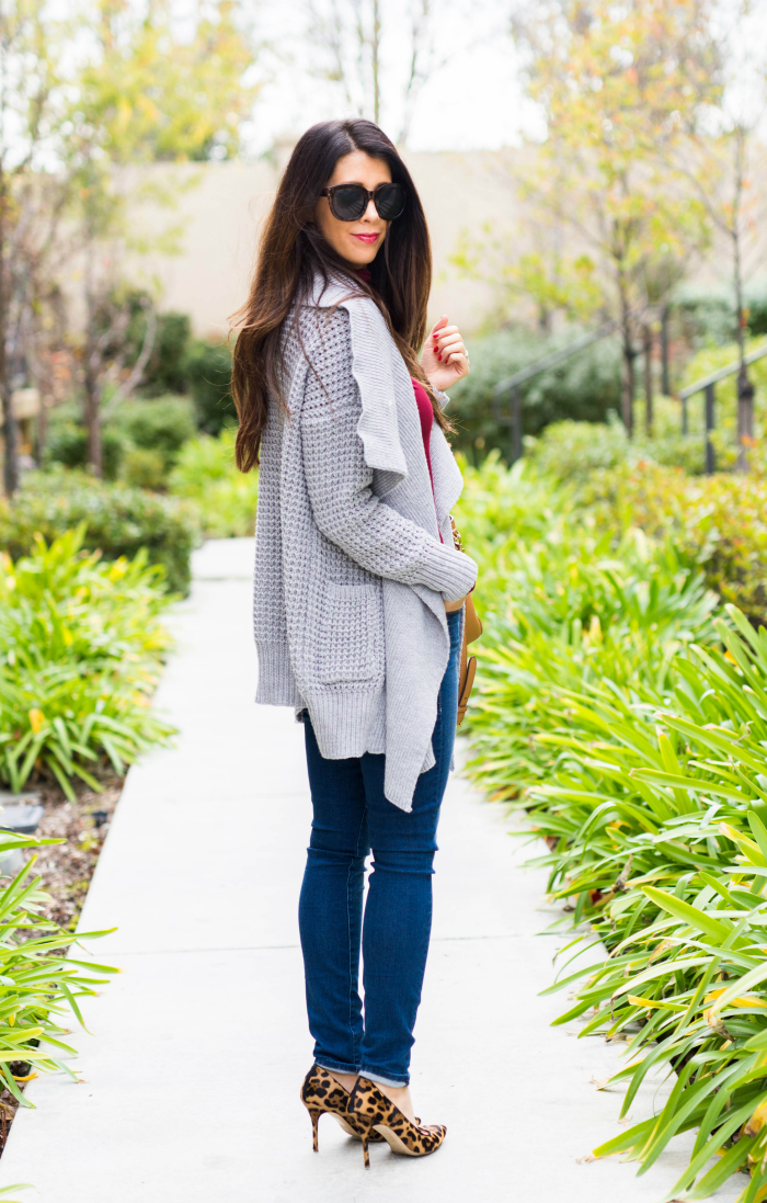 Grey Sweater + Leopard Pumps