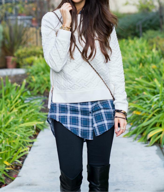 Legging, sweater & Plaid
