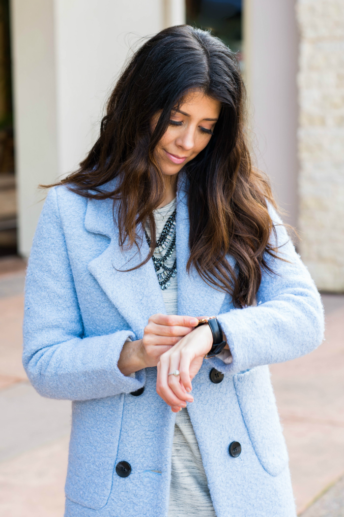 Pastel Blue Wool Coat