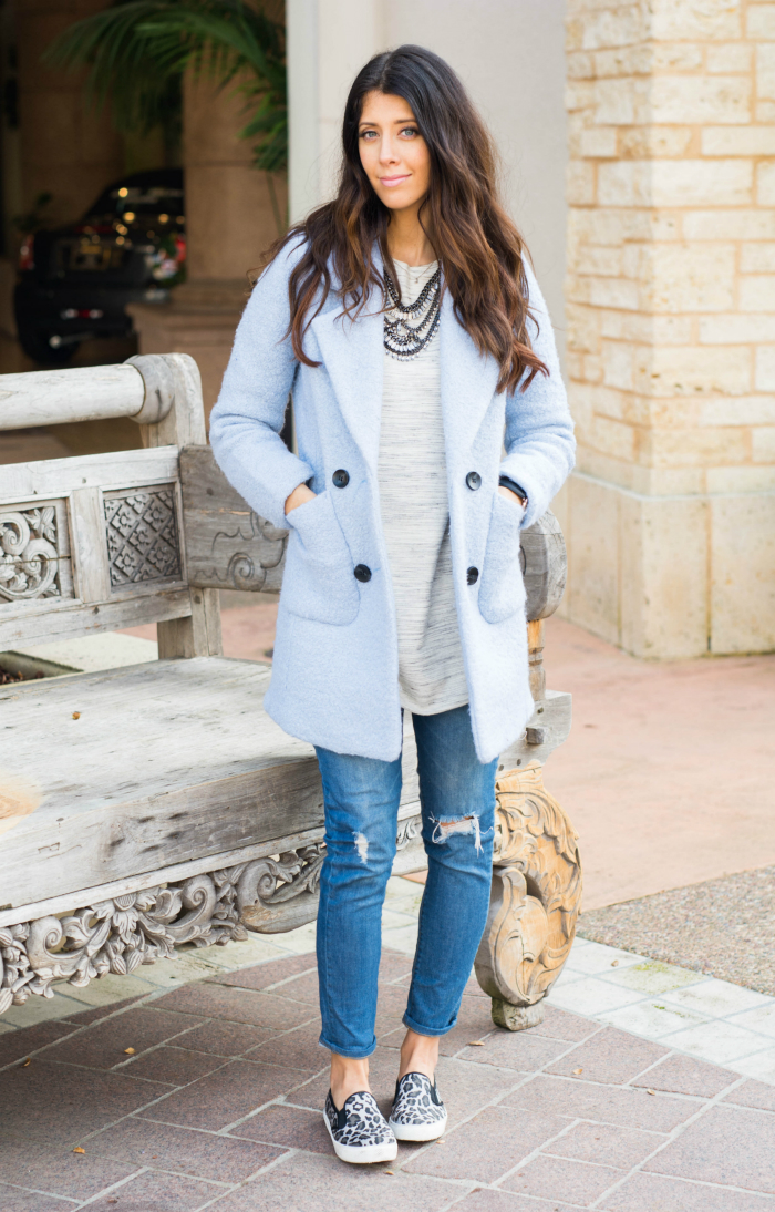 Pastel Blue Coat and leopard shoes
