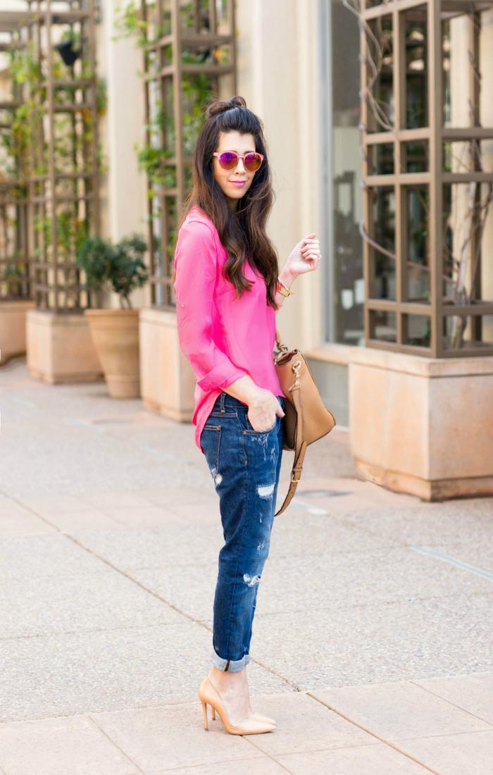 Boyfriend Jeans + Pink Top