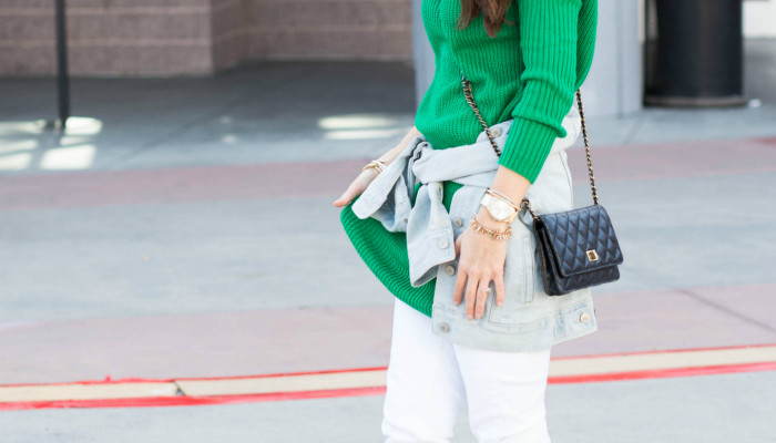 Green Sweater + White Jeans …