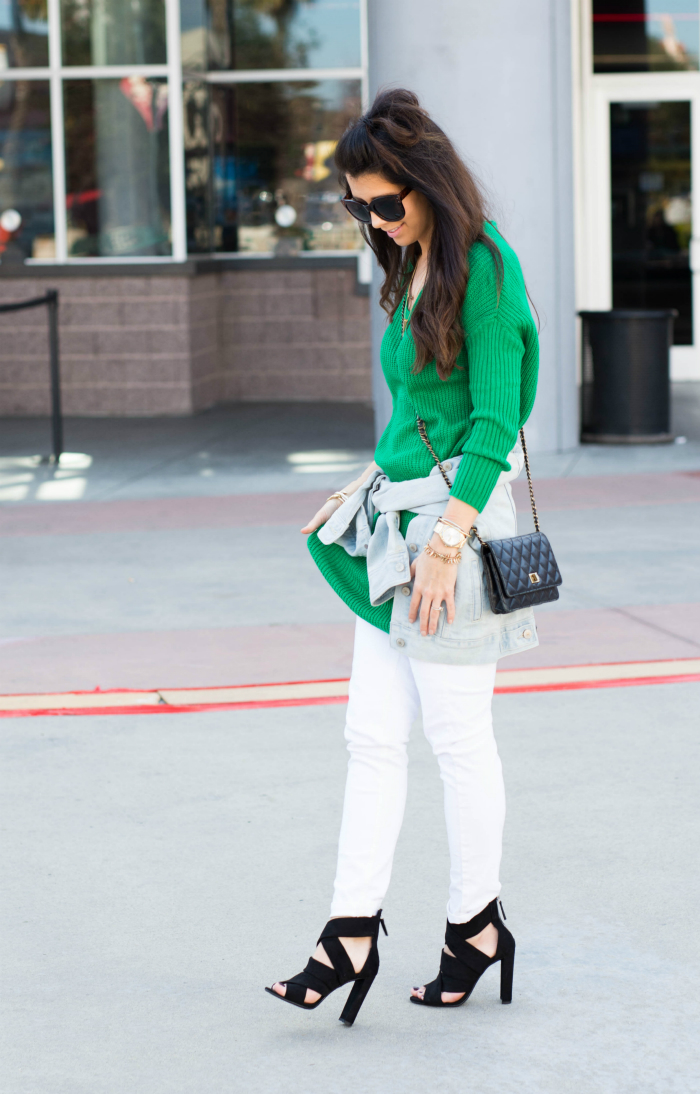 Green Sweater, White Jeans, Denim Jacket