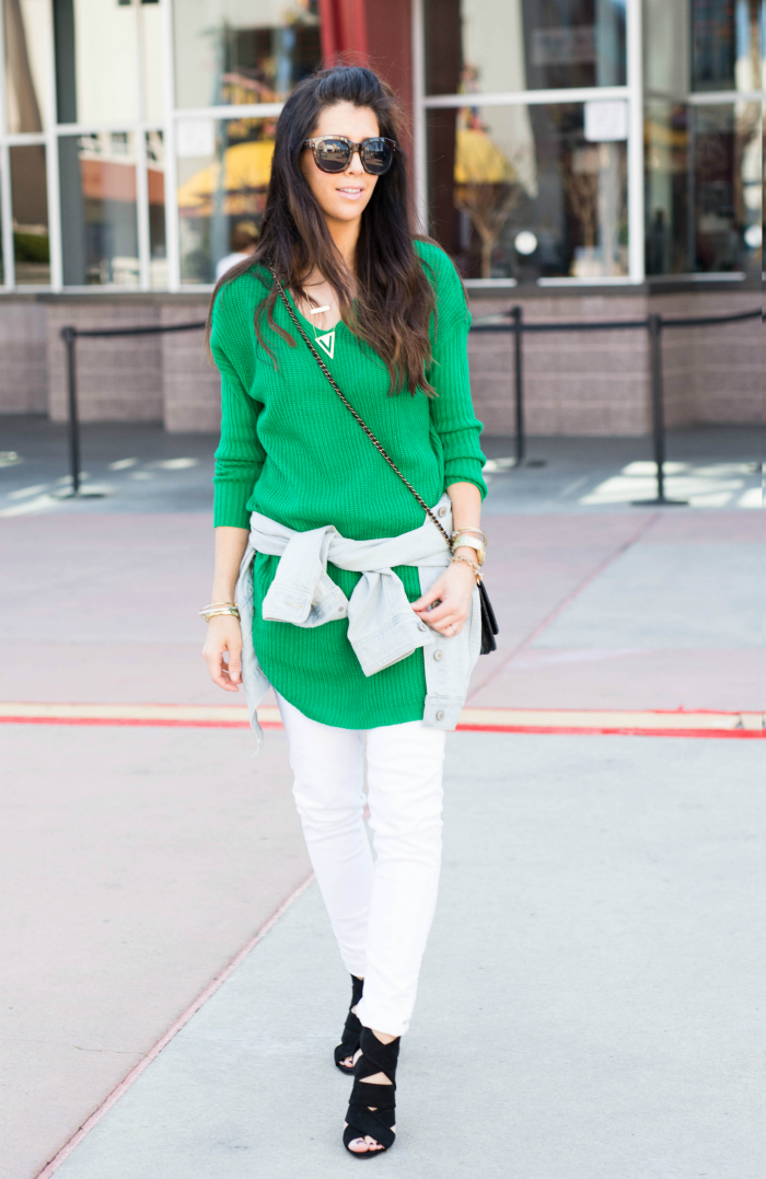 Green Sweater + White Jeans