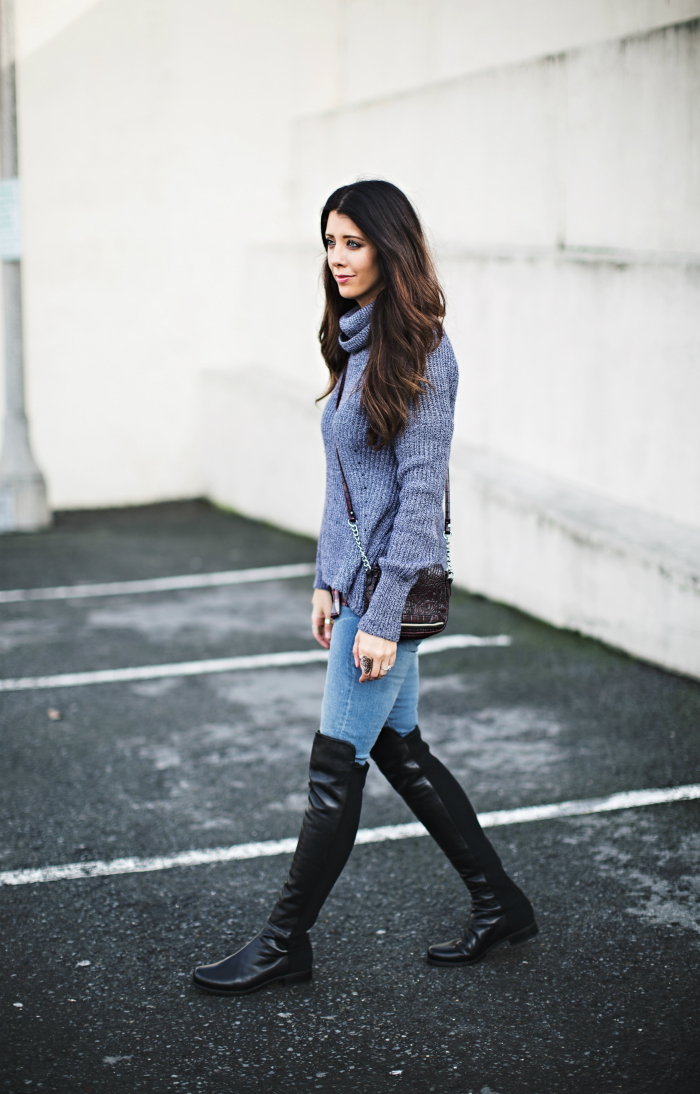 Over the Knee Boots + Cropped Sweater