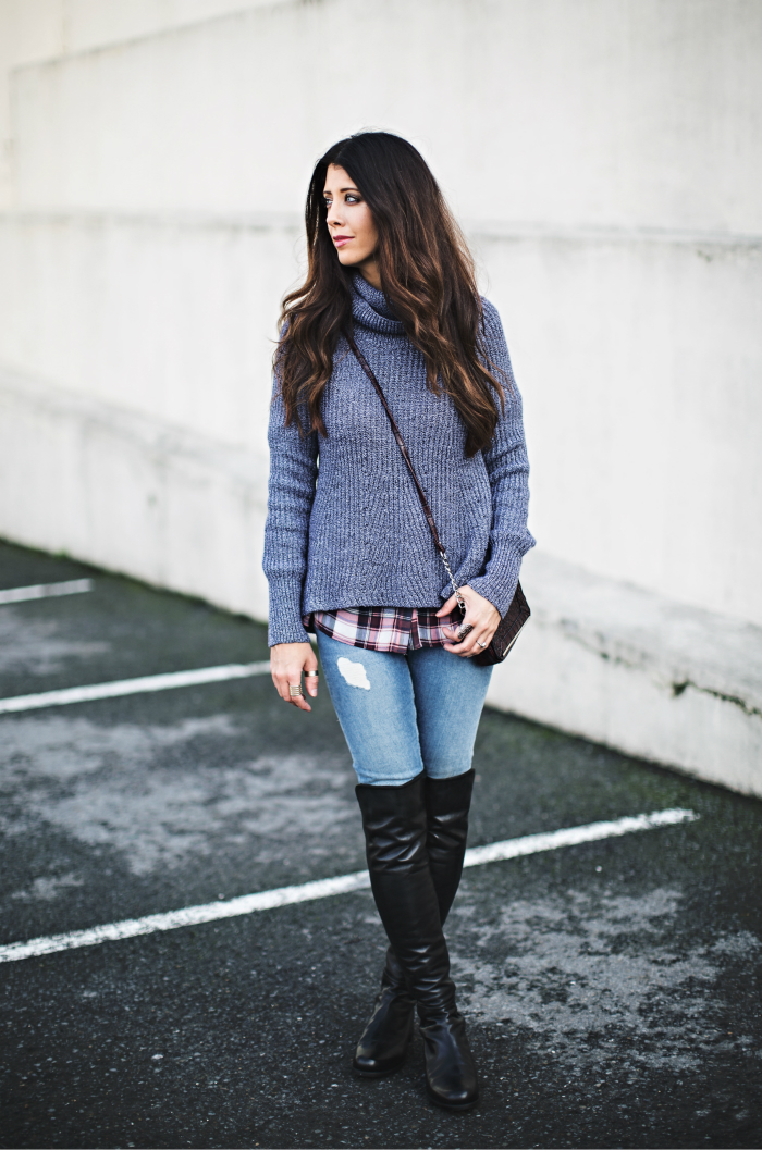 Plaid + Cropped Turtleneck Sweater
