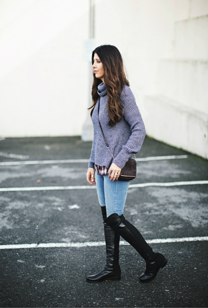Plaid Top Under Cropped Sweater + Over the Knee Boots
