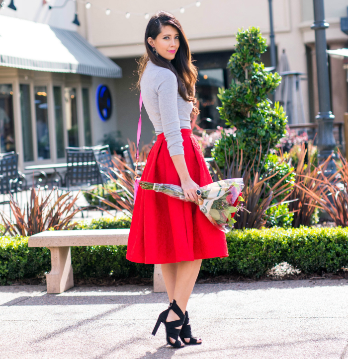 Red Midi, Grey Top. Black Heel.