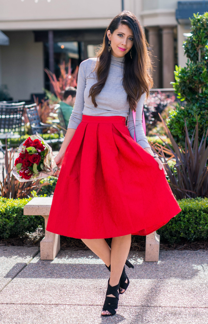 Red Midi + Grey Top