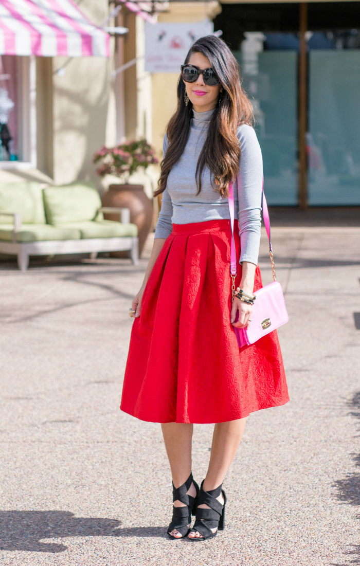 Red Midi Skirt + Grey Turtleneck