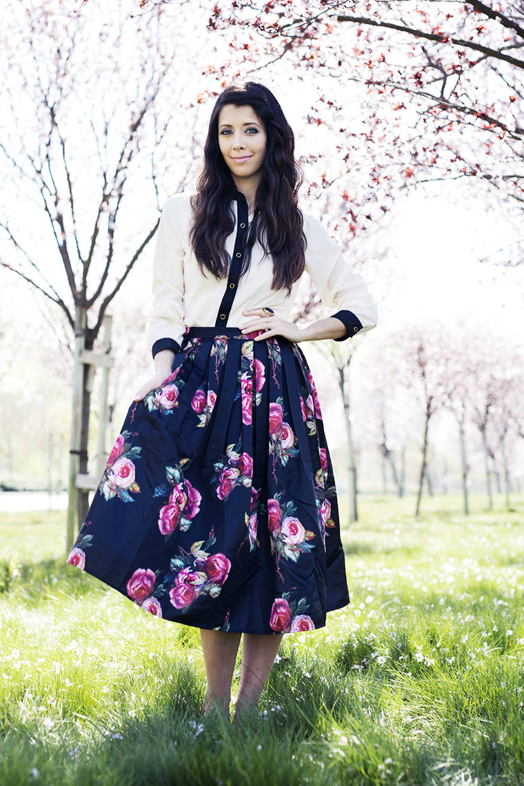 Black & White Top, Floral Skirt