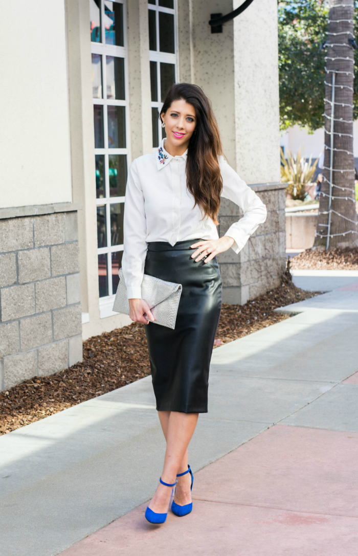 White Jeweled Collar Top + Leather Skirt