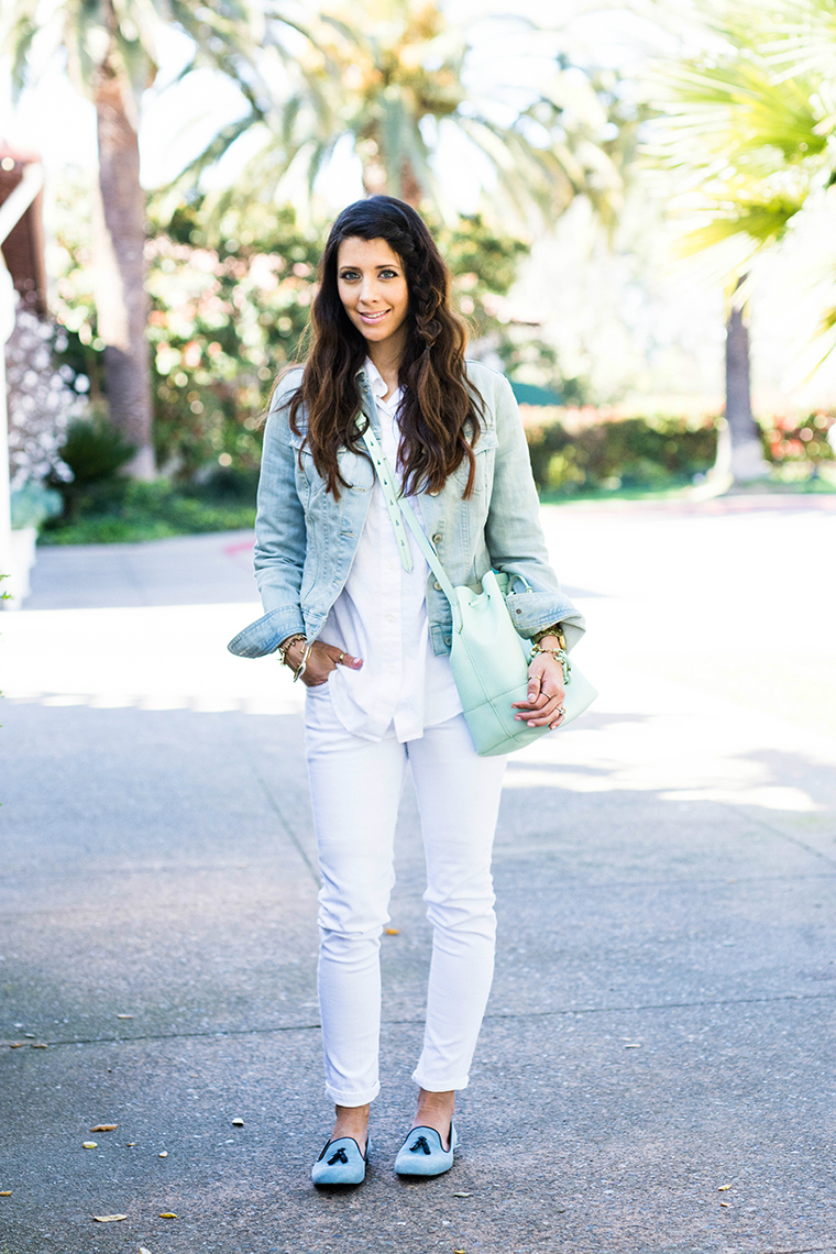 all white, denim, mint & blues