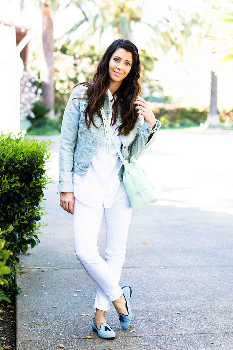 denim jacket, mint bag, all white