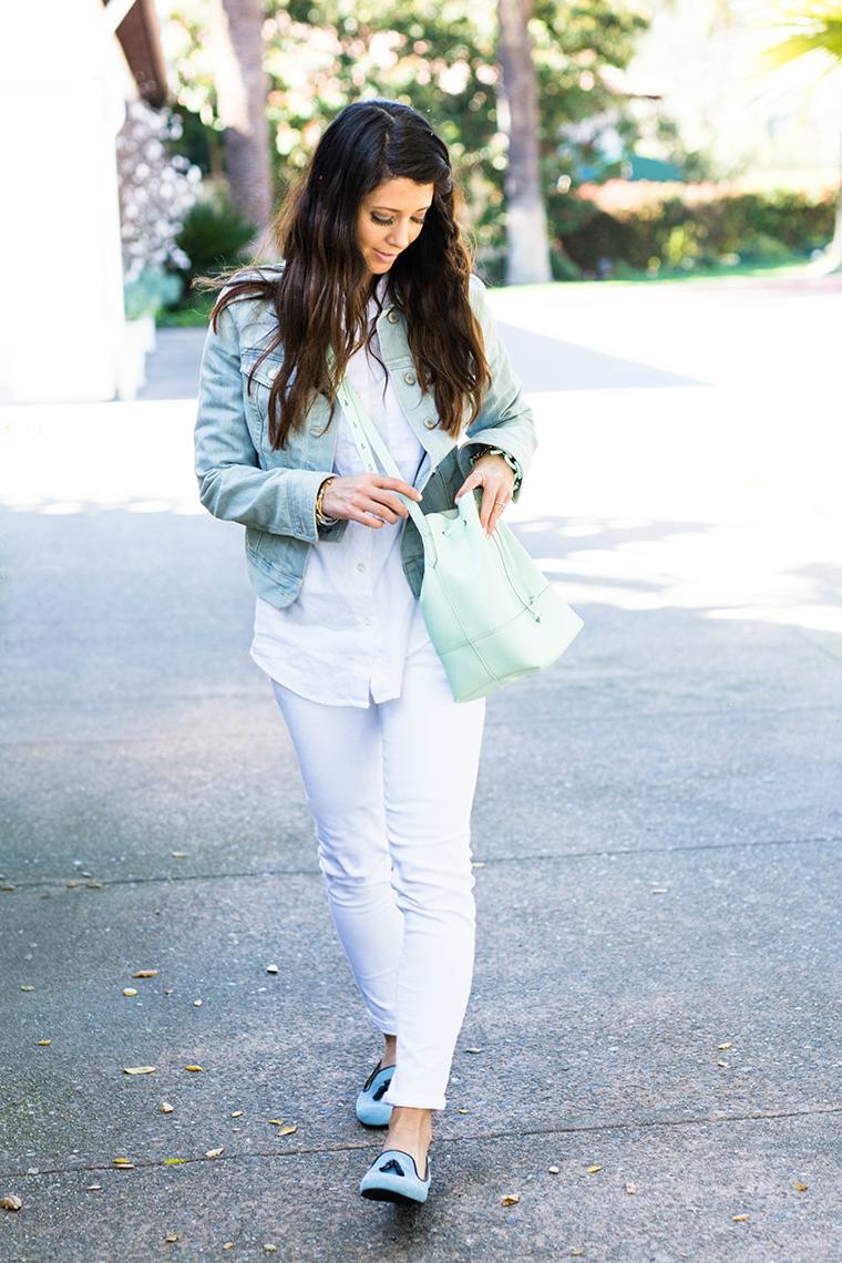 denim, mint, white