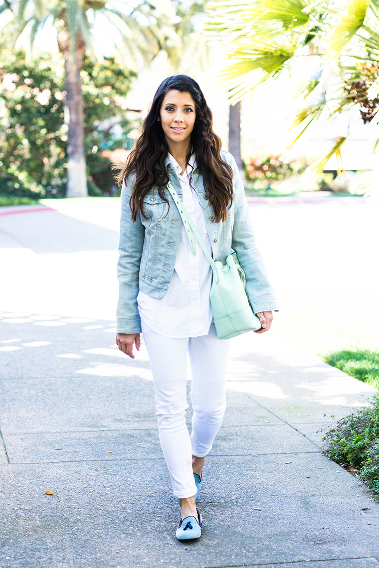 white, denim, mint