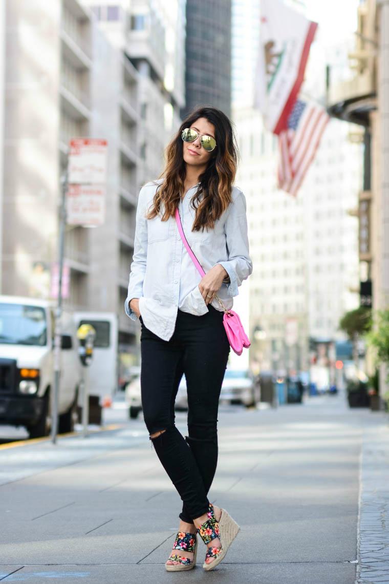 Black Jeans, Floral Wedges