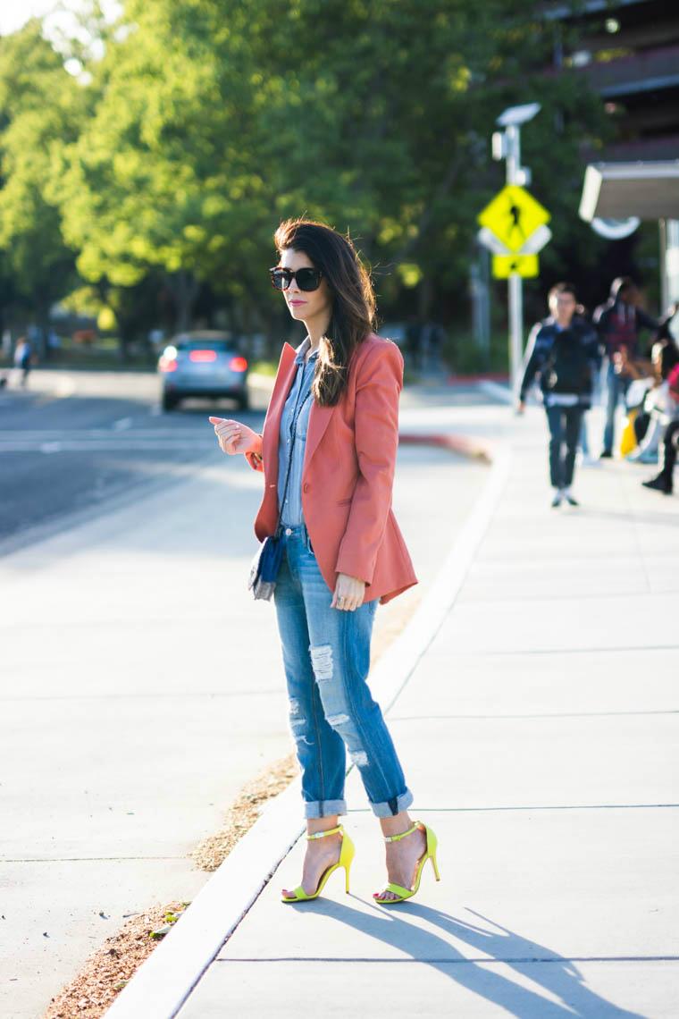 Boyfriends jeans, neon heels, coral blazer