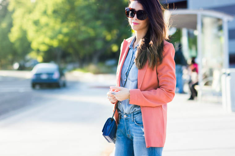 Coral blazer, denim on denim