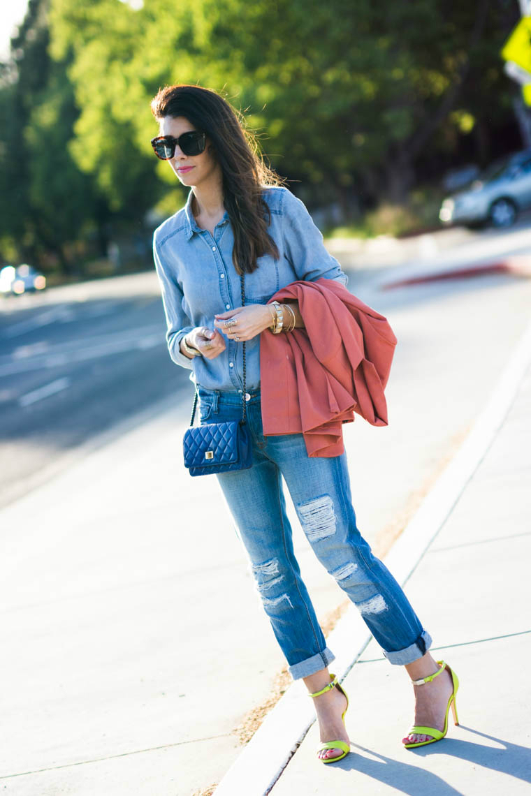 Coral, neon, denim on denim