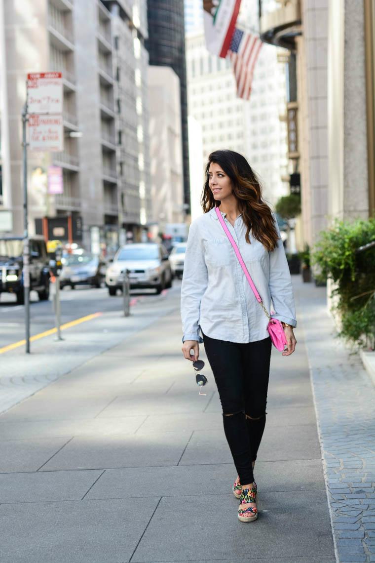 Denim, black jeans, pink, floral