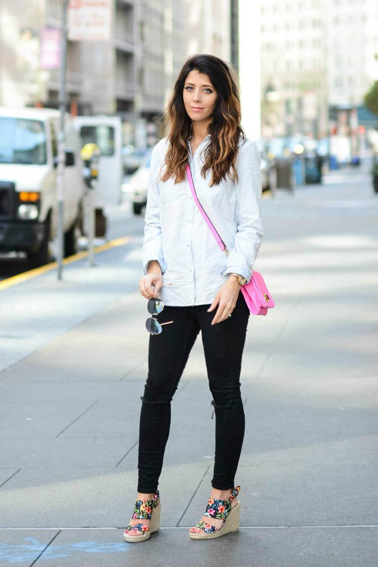Floral wedges, pink bag, denim, black jeans