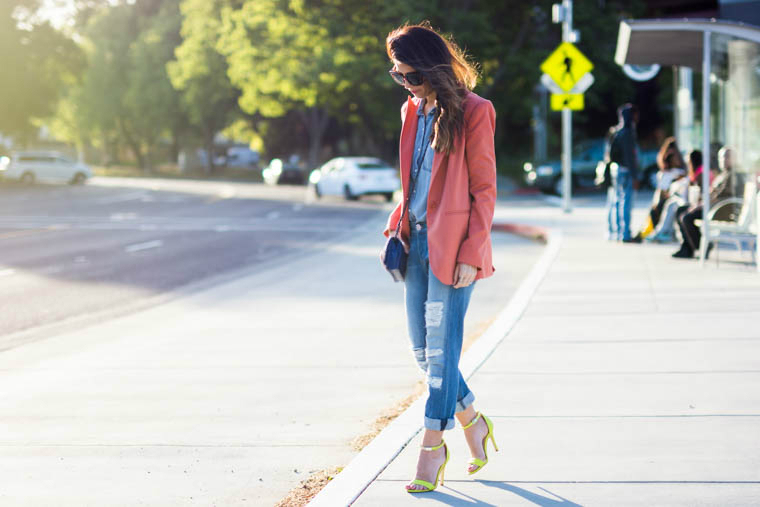 Neon heels, coral blazer, denim on denim
