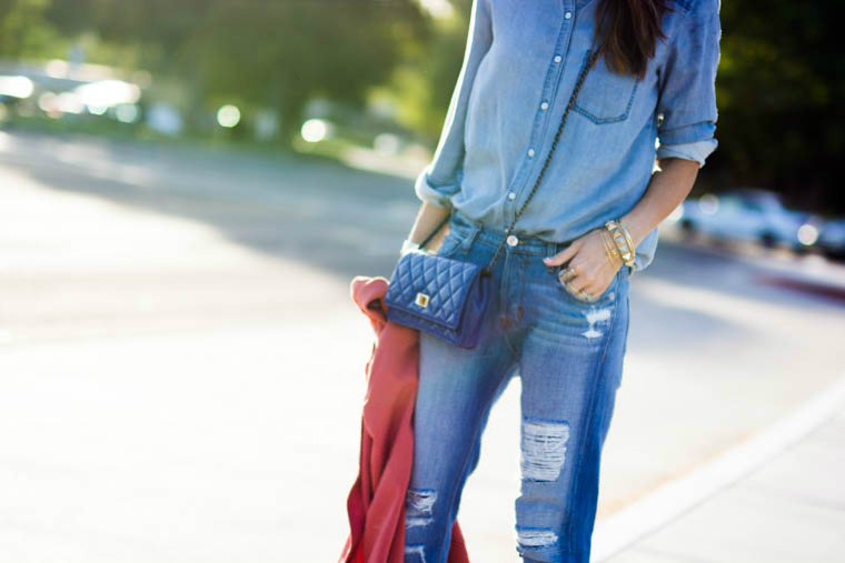 denim, distressed boyfriend jeans