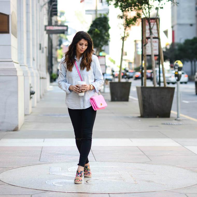denim top, black jeans, pink bag