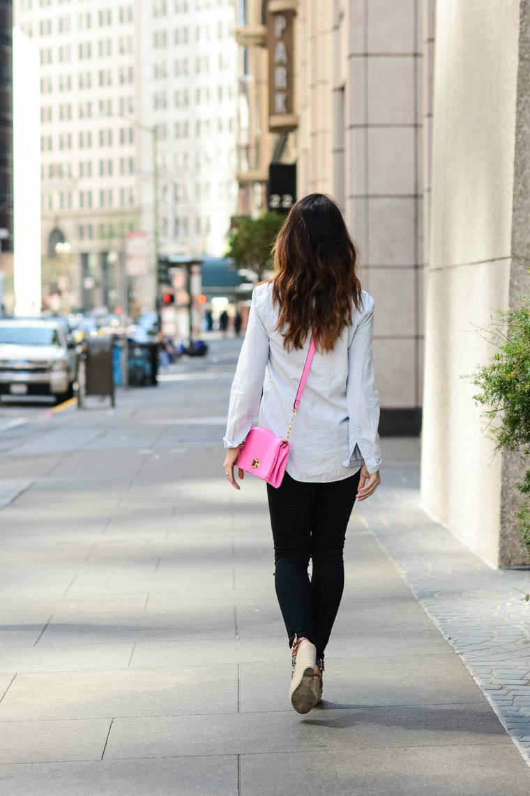 pink bag, denim, black jeans