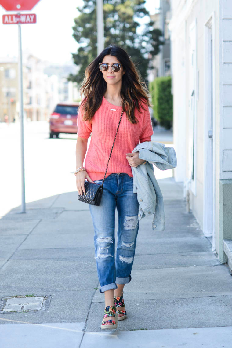 Bf Jeans, Coral Sweater