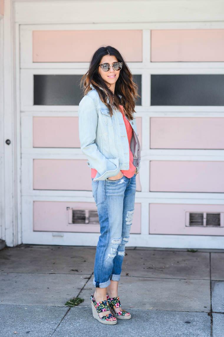 Denim Jacket, BF Jeans, Wedges