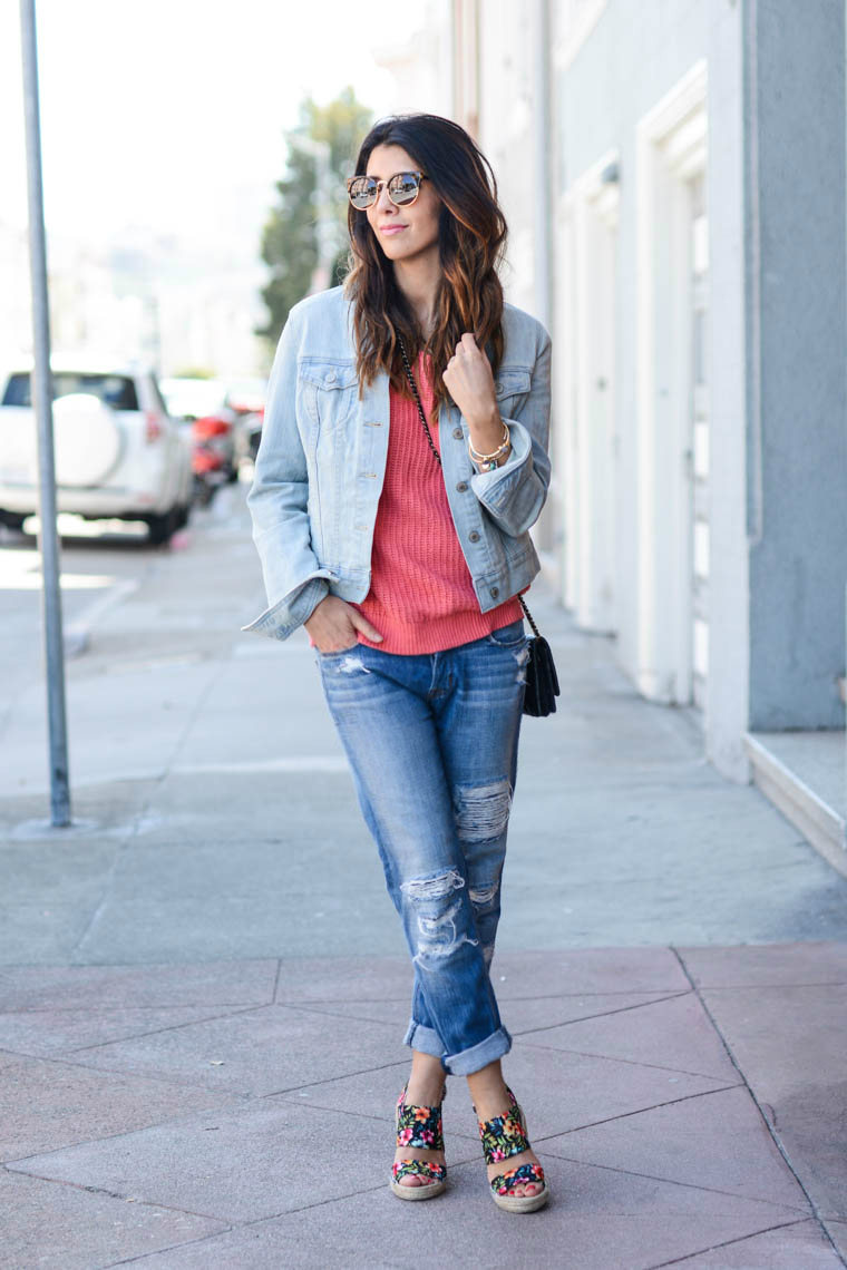 Denim Jacket, Distressed BF Jeans, Wedges