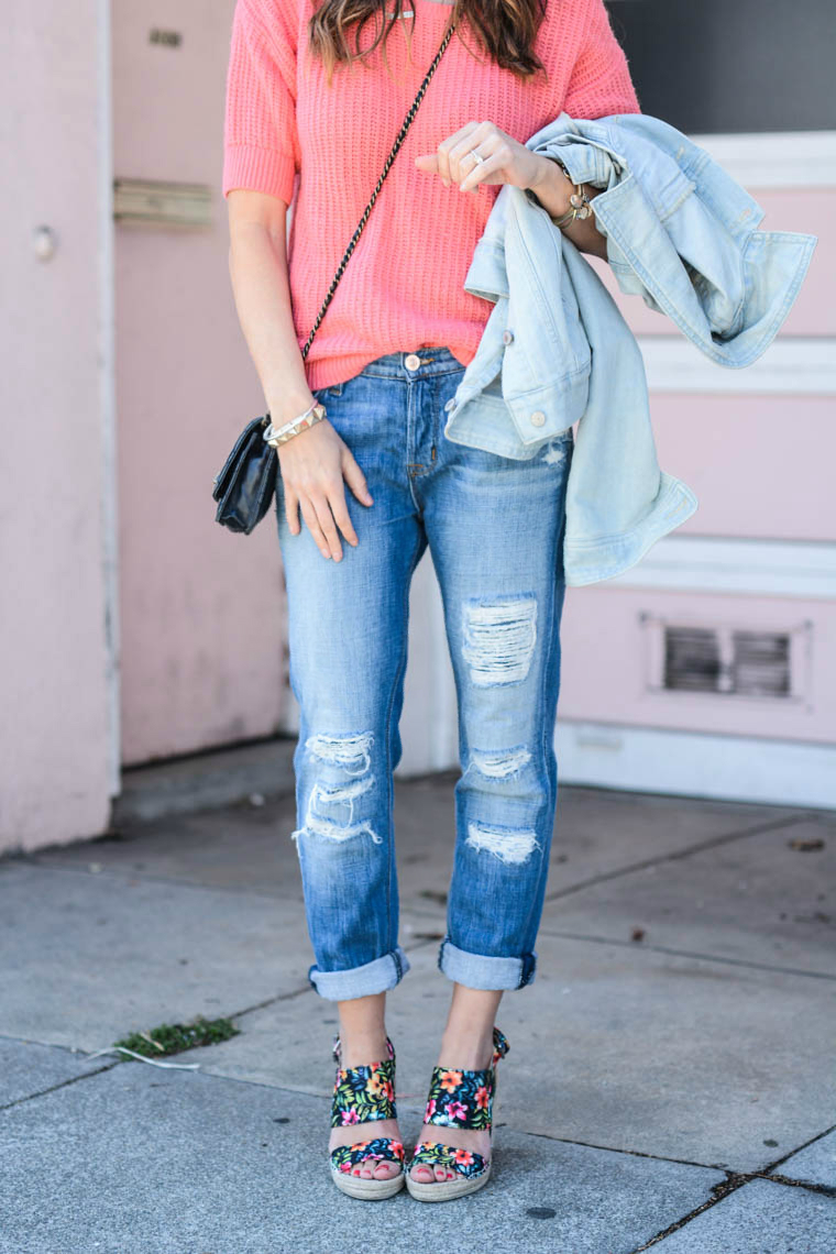Distressed Boyfriend Jeans, Floral Wedges