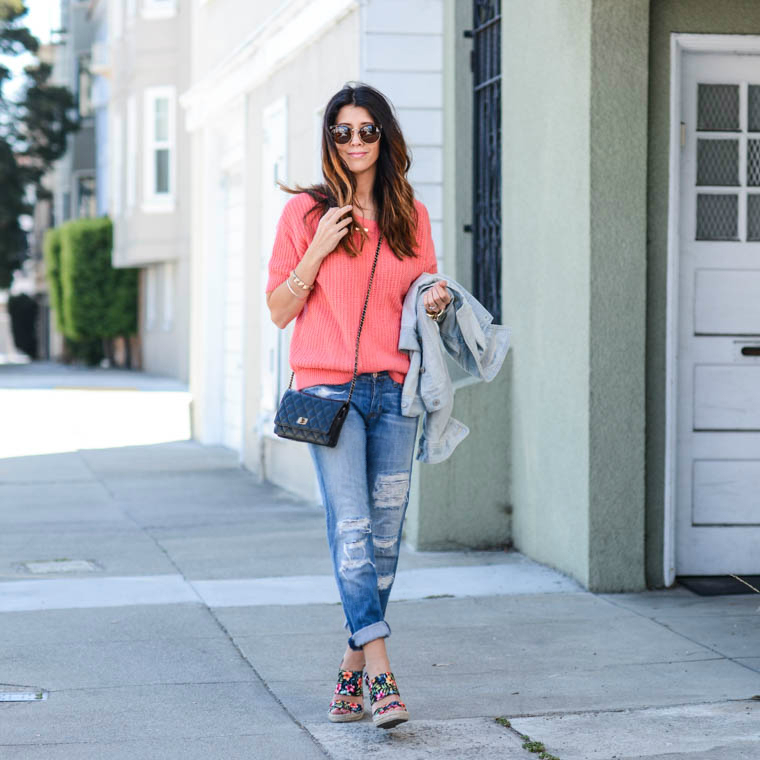 Distressed Jeans, Coral Top, Floral Wedges