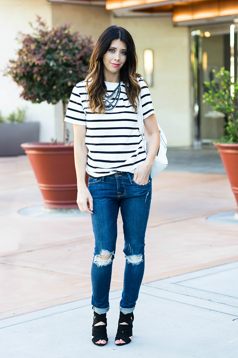 Distressed Jeans, Striped Tee