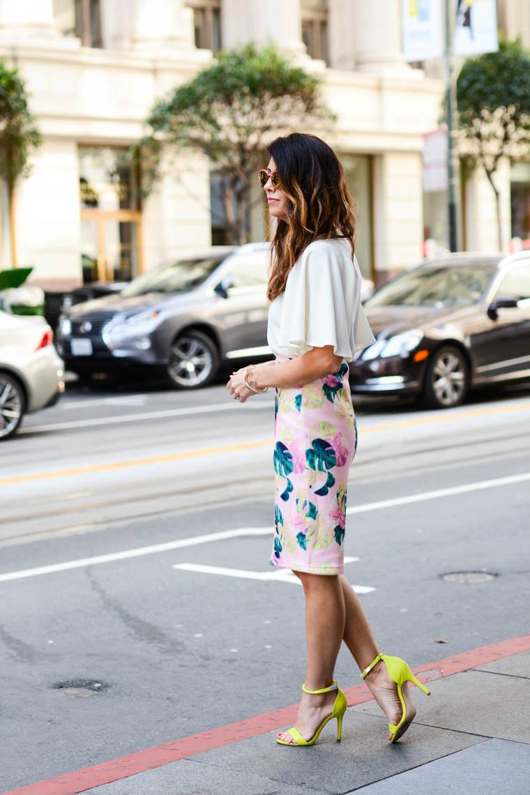 Palm Print Skirt, neon heels