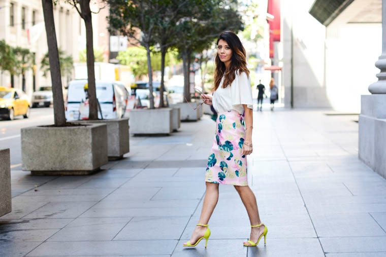 Palm Skirt, Neon heels, white top