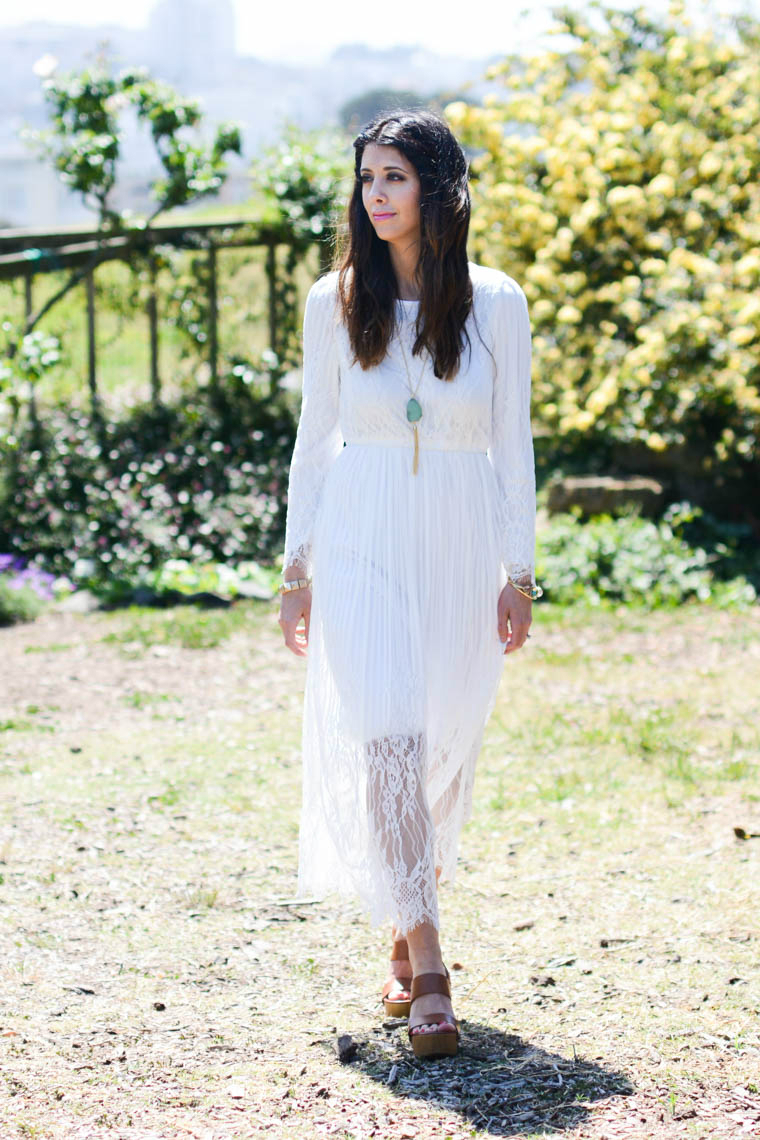 Summer, White, Long, Lace, Dress