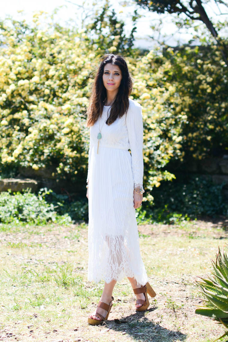 Summer dress, white, lace