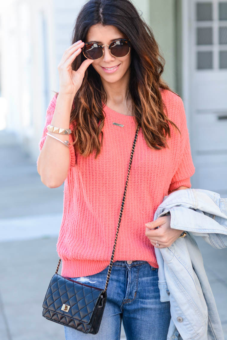 Sunnies, Coral Sweater, Crossbody Bag