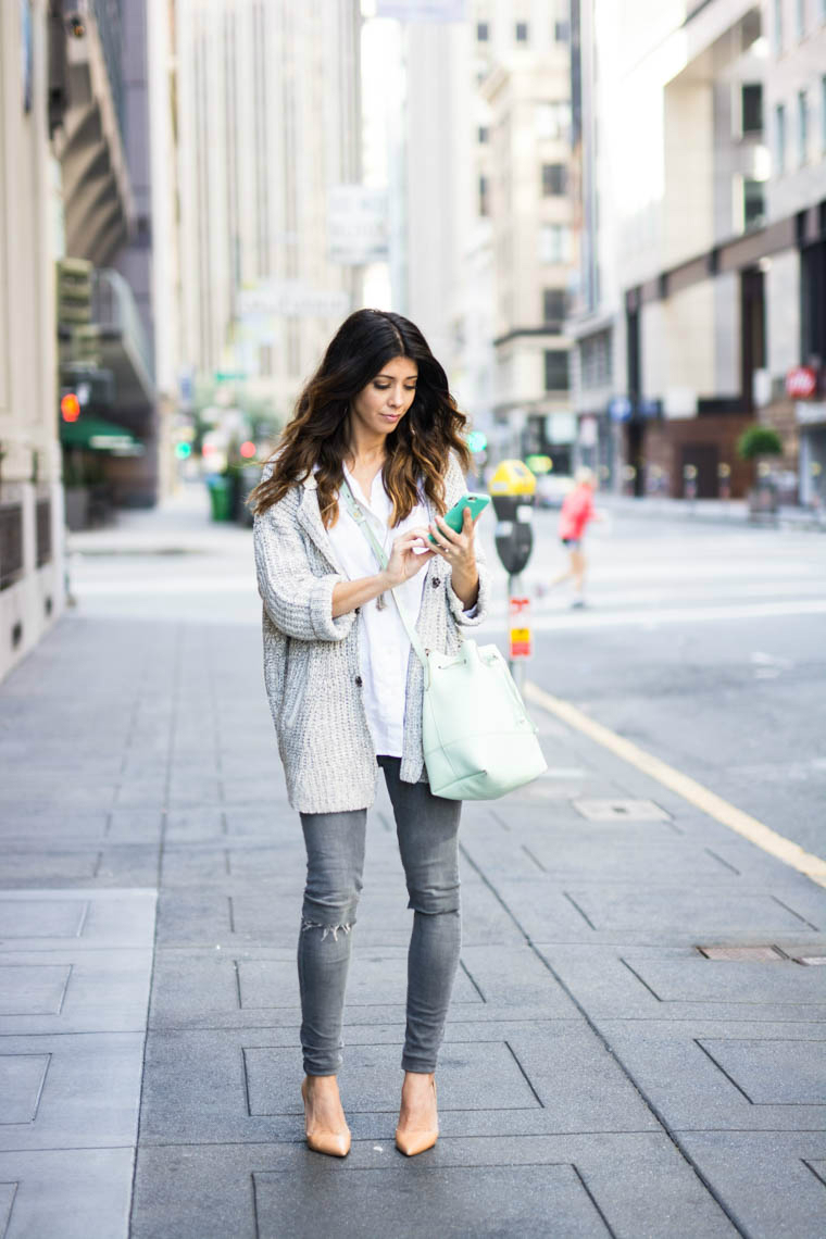Sweater, whitw top, grey jeans