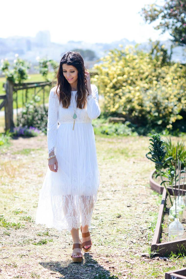 White lace dress, Tan heels