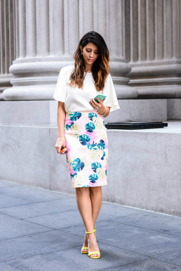 White top, Palm print skirt