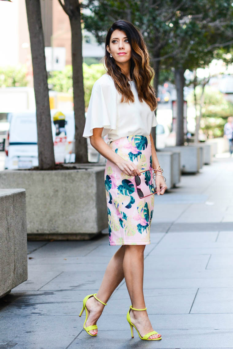 palm print skirt, neon heels, white top