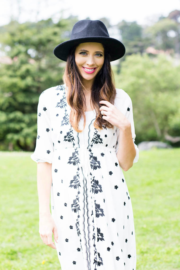 Black hat, maxi dress