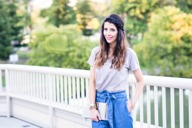 Classic Tee, clutch, denim pants