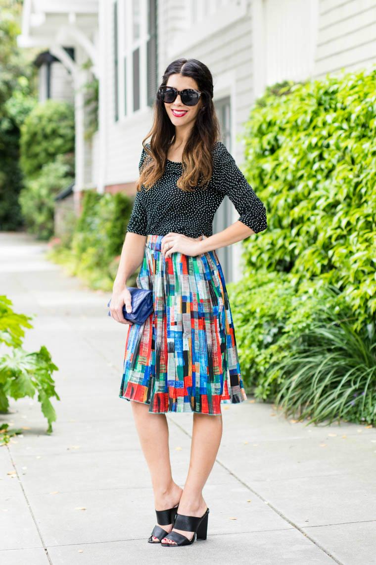 Color midi skirt